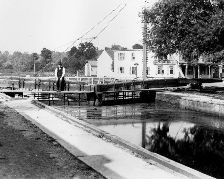 D&R Canal at Lock8/Kingston with Lock Tender; c. 1900