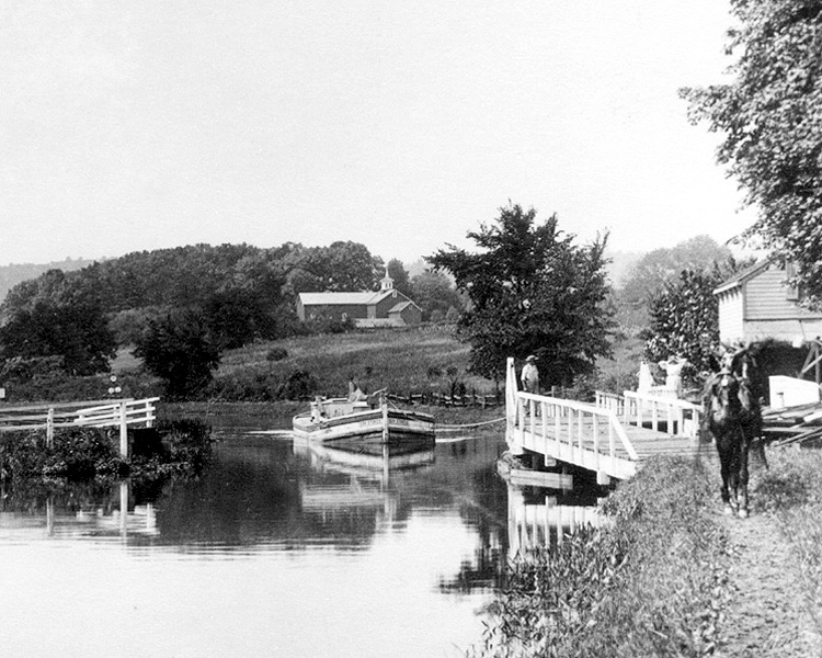 D&R Canal Feeder at Titusville; Open Swing Bridge; c1910